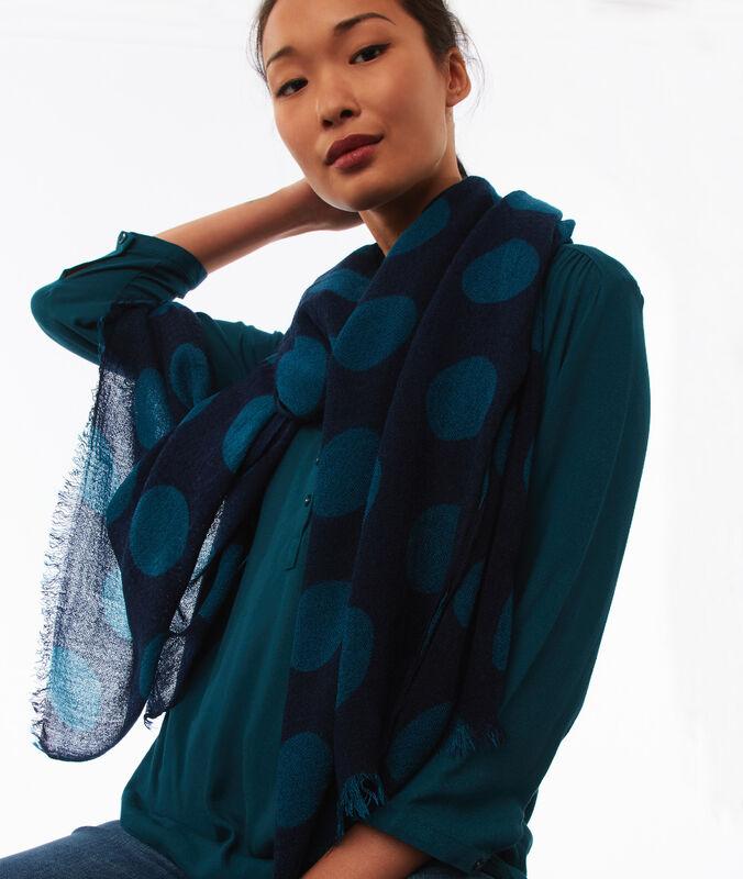 Bufanda estampado de lunares azul marino.