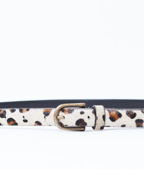 Ceinture en cuir à imprimé léopard