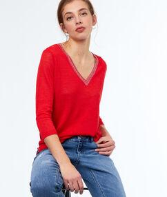 Jersey escote en v lino rojo.