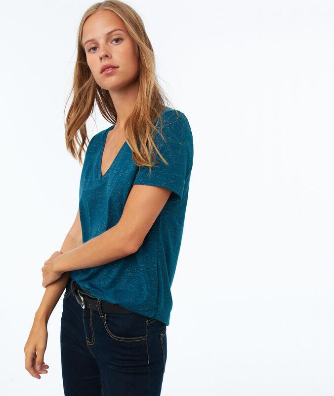Camiseta hilos metalizados azul turquesa.