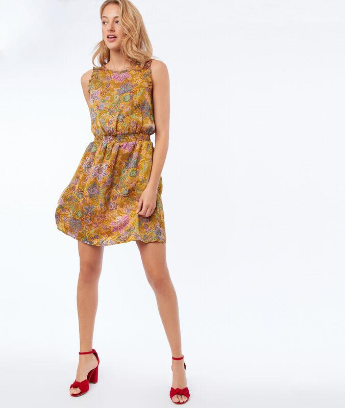Vestido sin mangas estampado floral amarillo mimosa.