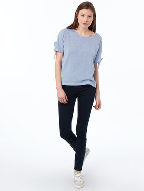 Top escote redondo algodón azul marino.