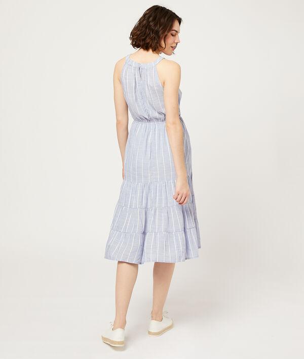 Vestido largo estampado de rayas