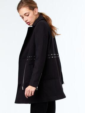 Manteau 3/4 col tailleur noir.
