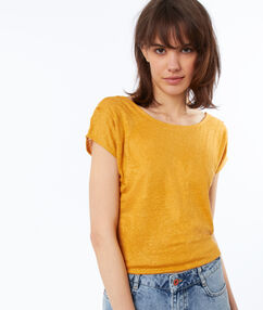Camiseta lino cuello redondo c.ocre.