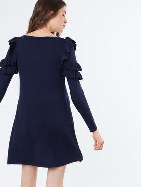 Robe pull manches avec volants bleu marine.