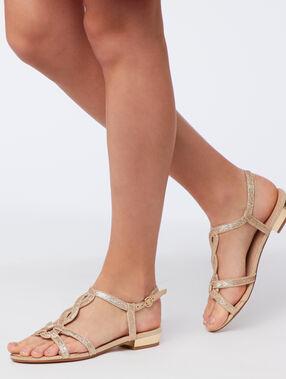 Sandalias planas metalizadas dorado.