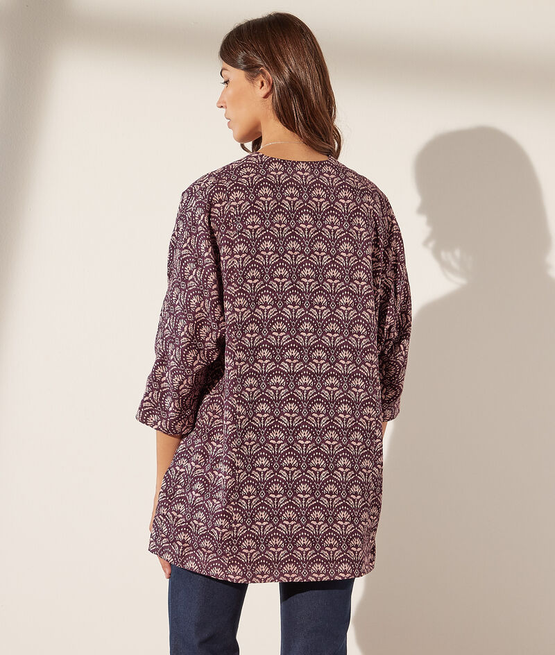 Chaqueta tipo kimono estampada algodón
