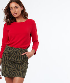 Falda estampado tropical algodón caqui.