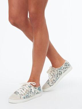 Zapatillas estampado floral crudo.