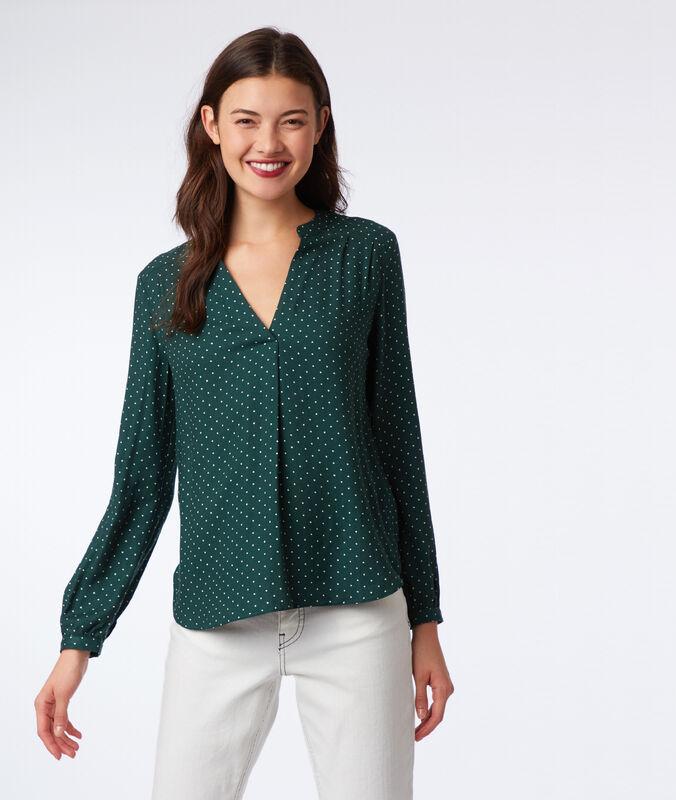 Blusa escote tunecino estampado de lunares verde.