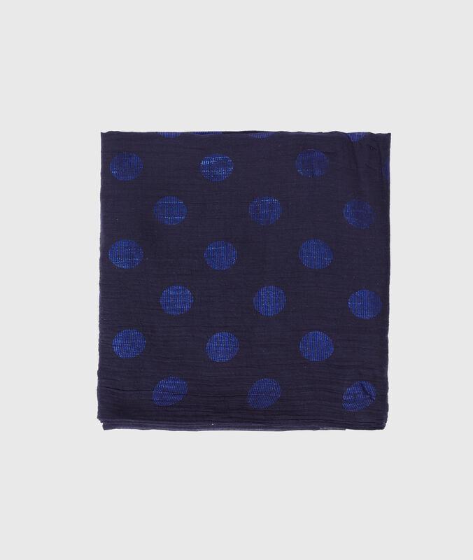 Pañuelo estampado de lunares azul marino.