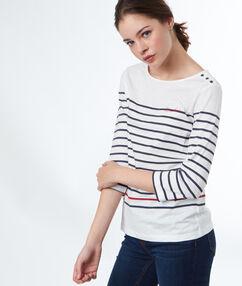 Camiseta estampado a rayas estilo marinero azul marino.