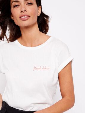 Camiseta con mensaje orange day off white.
