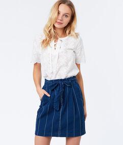 Falda con cinturón algodón c.denim.
