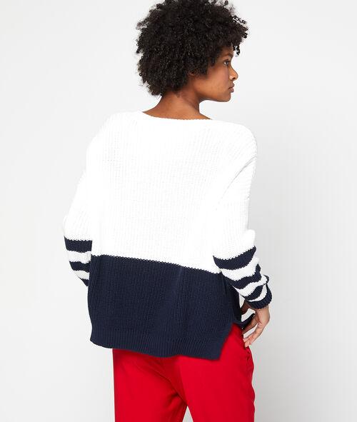 Suéter a rayas en punto grueso