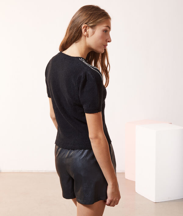 Jersey manga corta, motivos strass