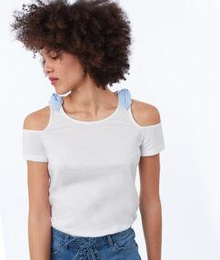 T-shirt en coton épaules nues avec nœuds blanc.