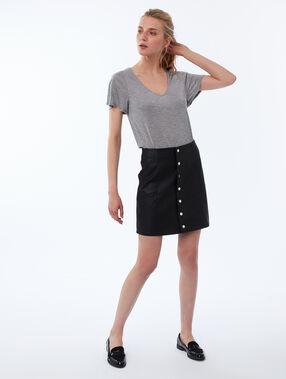 Camiseta escote en v tencel c.gris clair.