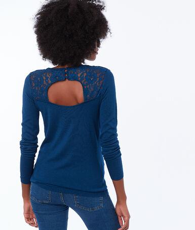 Jersey escotado detalles encaje azul noche.