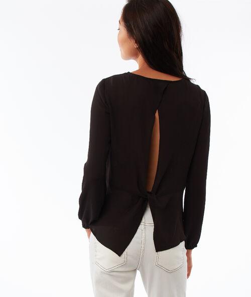 Blusa lisa escote en la espalda