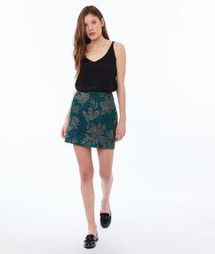 Falda estampado floral verde esmeralda.