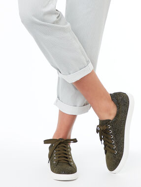 Zapatillas purpurina caqui.