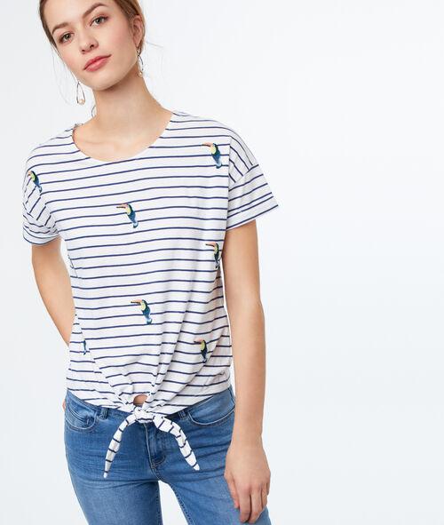 Camiseta tucanes estampado de rayas