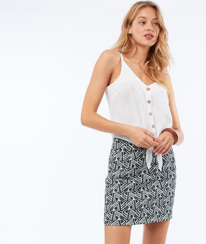 Falda corta estampado geométrico verde.
