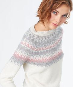 Pull en laine mélangée avec col rond jacquard ecru.
