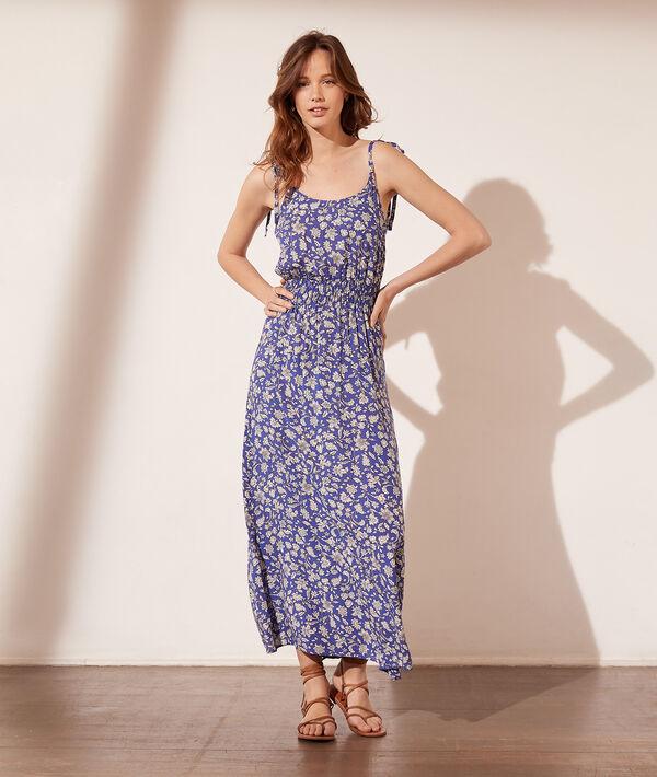 Vestido largo estampado floral, ceñido cintura