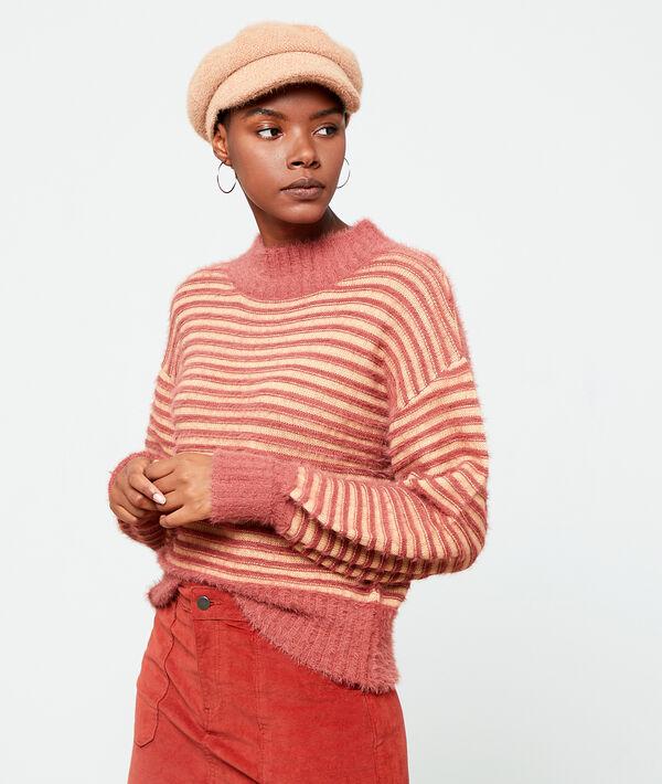 Suéter a rayas de punto esponjoso