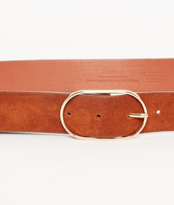 Cinturón recubierto de cuero