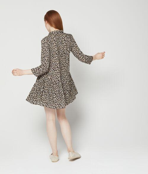 Vestido camisero con estampado de leopardo