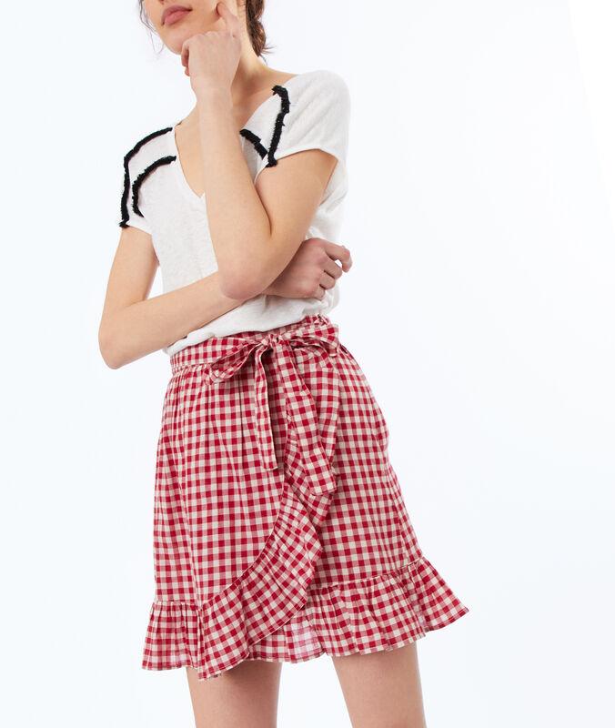 Falda estampado de cuadros rojo.