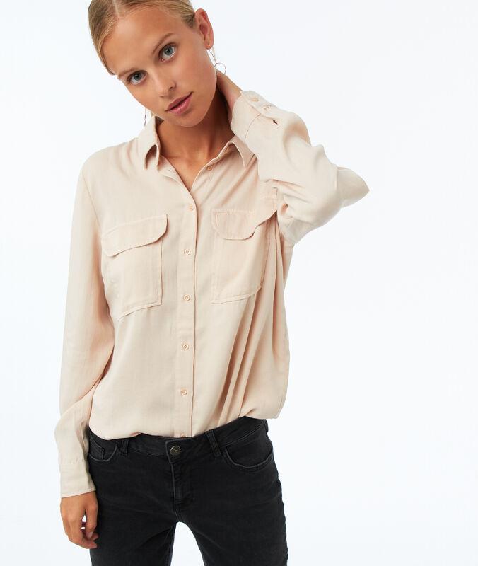 Camisa manga larga dos bolsillos tencel arena.
