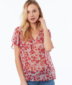 Top estampado floral rojo.