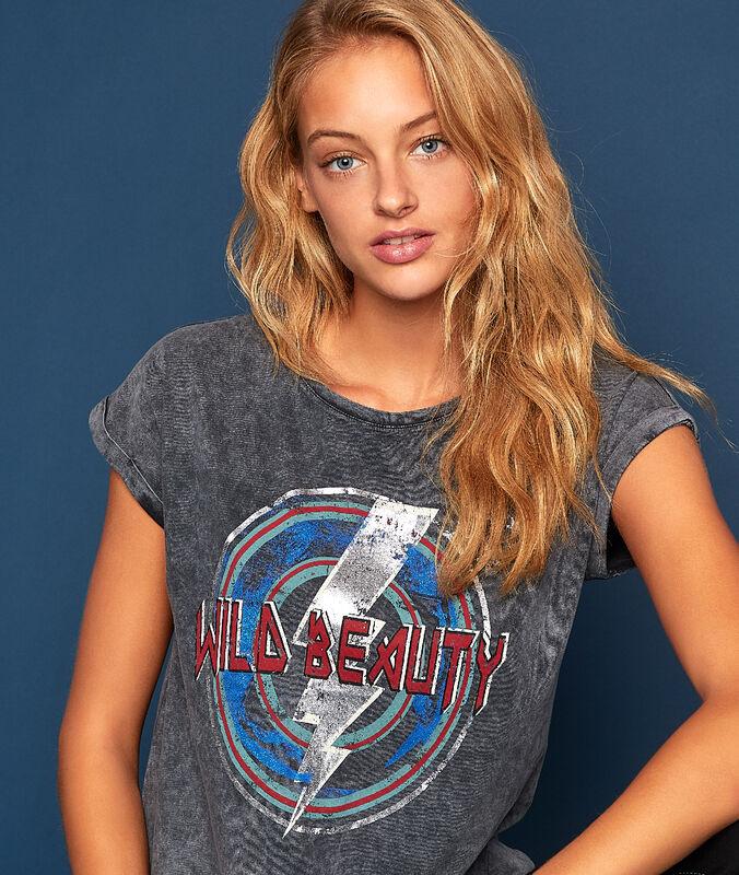 Camiseta con mensaje c.gris jaspeado.