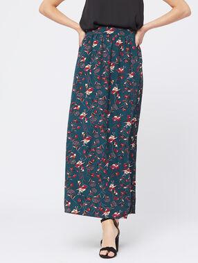 Falda larga estampado floral verde.