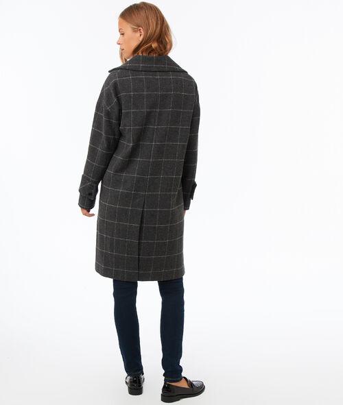 Abrigo largo estampado de cuadros