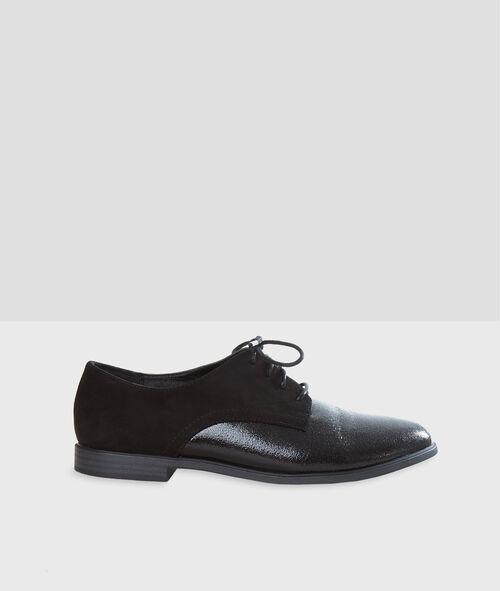 Zapatos con cordones dos texturas