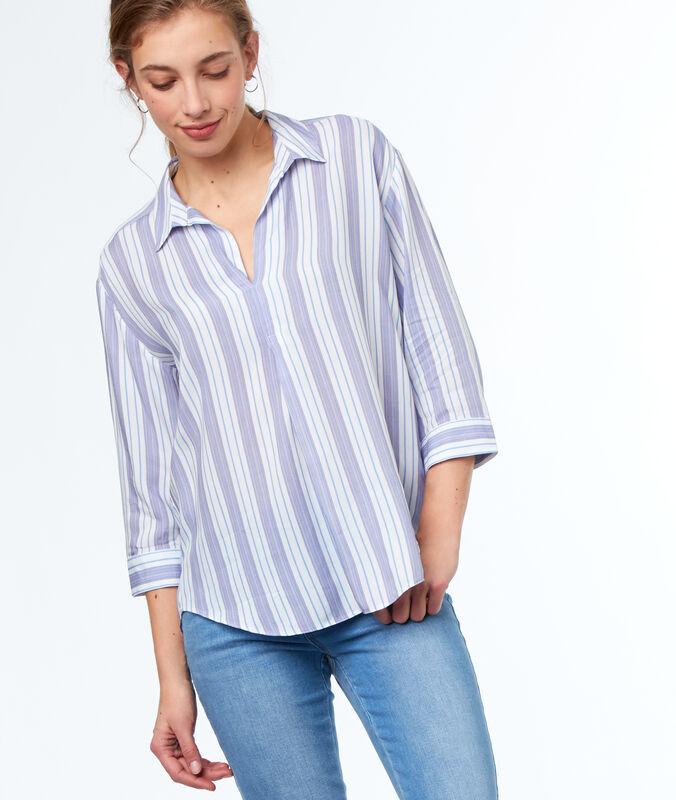 Camisa estampada a rayas crudo.