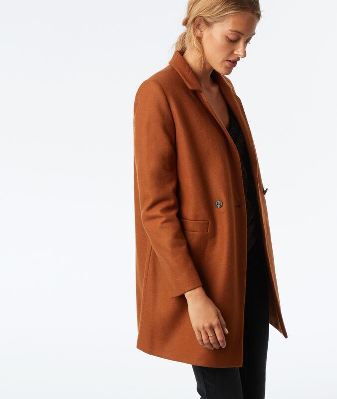 Abrigo 3/4 lana mezclada marrón.