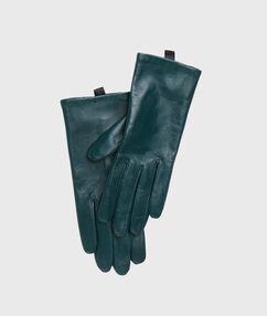 Gants en cuir vert.