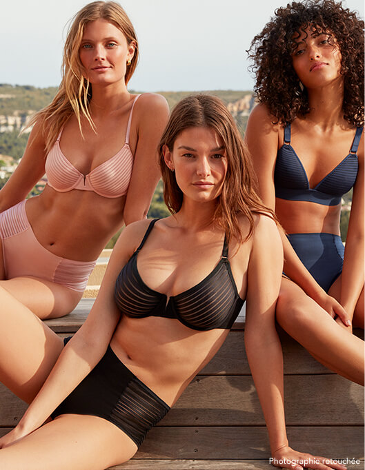 women team outside underwear